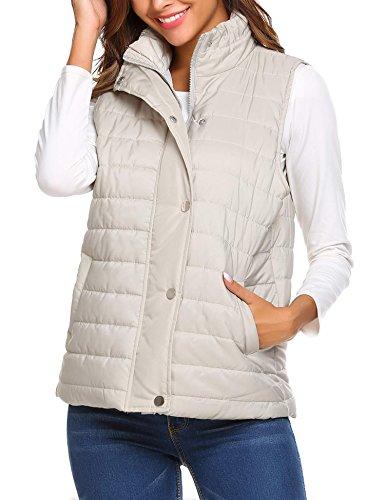 Vest Fleece Free Pattern (Cnlinkco Puffer Vest Women Winter Warm Zip Up Lightweight Quilted Vest with Pocket (L, Light Grey))