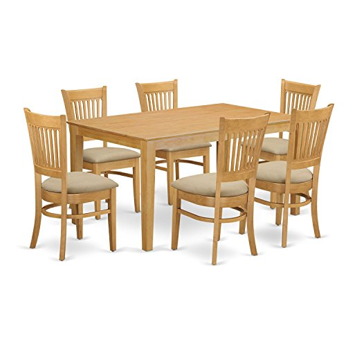 East West Furniture CAVA7-OAK-C 7 Pc Dining Room Set - Kitchen dinette Table and 6 Dining Chairs (7 Set Pc Kitchen Table)