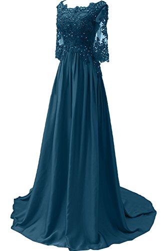 ideale romantico lunghe Blu in occasioni speciali maniche donna serate Ivydressing con inchiostro da stile abito e sera per pizzo lungo da yqc1cgOv0P