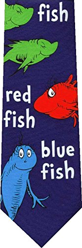 One Fish Two Fish Reversible Dr Seuss New Cartoon Novelty Tie