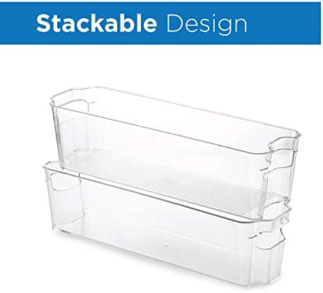 """41as8ogQlyL. AC Set Of 6 Refrigerator Organizer Bins - Stackable Fridge Organizers for Freezer, Kitchen, Countertops, Cabinets - Clear Plastic Pantry Storage Racks    Keep your refrigerator, freezer, pantry or countertops neatly organized with these fridge organizer storage bins Ideal sized to fit fruits, vegetables yogurts, canned goods, food packets, cheese, meat, also good for storing dry goods in the pantry 6-piece set includes: 2 Wide drawer 14.5"""" L x 8.5"""" W x 4"""" H. 2 Narrow drawer 14.75"""" L x 4.25"""" W x 4"""" H. 1 Egg holder with lid stores 14 eggs 14. 5"""" L 4. 5"""" W x 3"""" H. 1 Soda can holder fits 9 standard size 12oz soda cans measures 13.5"""" x 5.5"""" x 3.75"""" Made of durable high quality 100% food safe BPA Free shatter-resistant plastic Designed with practical carry handles and interior non slip texture, clean with warm soapy water. DO NOT PLACE IN DISHWASHER"""