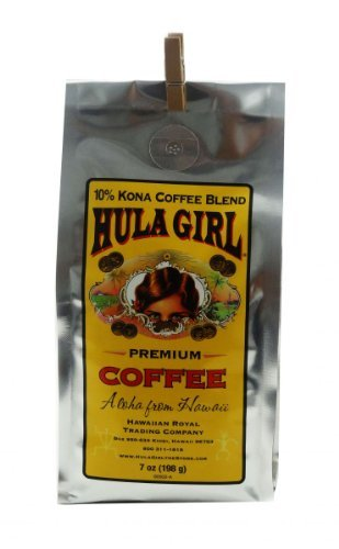 10% Hula Girl Kona Coffee Blend 7 oz (196 g)