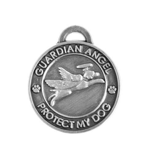 Pet Collar Charm (Luxepets Pet Collar Charm, Guardian Angel Dog, Antique Silver)