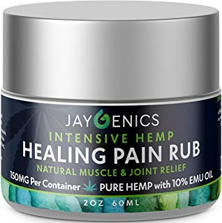 JAYGENICS Hemp Oil Healing Pain Rub: Pure Organic Hemp Pain Relief Cream 150mg | Anti-Inflammatory Arthritis, Back, Knee, Hands, Joints, Neck, Feet & Muscle Soreness Hemp Cream with 10% EMU Oil | 2Oz