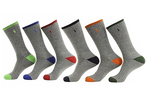 (Polo Ralph Lauren 6-Pack Technical Sport Grey Socks Sz: 10-13; Fits Shoe 6-12.5)