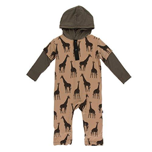 Kickee Pants Little Boys Print Long Sleeve Hoodie Romper - Suede Giraffes, 3-6 ()