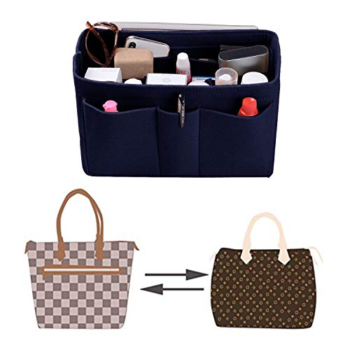 Purse Organizer Insert, Felt(3MM) Fabric Bag Organizer for LV Neverfull, LV Speedy, Purse Handbag Tote Bag, 3 Sizes, 8 Colors (medium, Purplish Blue) by ETTP (Image #5)