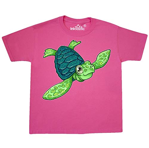 inktastic Sea Turtle with Swirls Youth T-Shirt Youth X-Small (2-4) Neon Pink ()