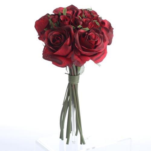 Factory Direct Craft Artificial Silk Deep Red Rose Nosegay Bouquet