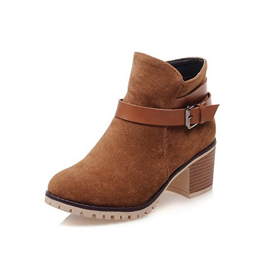Women's Toe Zipper Imitated Brown Kitten Closed Suede Boots Heels Round Solid AmoonyFashion OSxzdO
