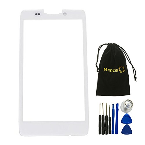 (Mencia White Front cover Screen glass lens for Motorola Droid Razr Maxx HD XT925 XT926 XT926M With Tools (No Lcd Digitizer))