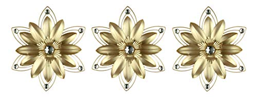 Elico Ltd. Jeweled 3D Metal Flower Wall Sculpture Set of 3