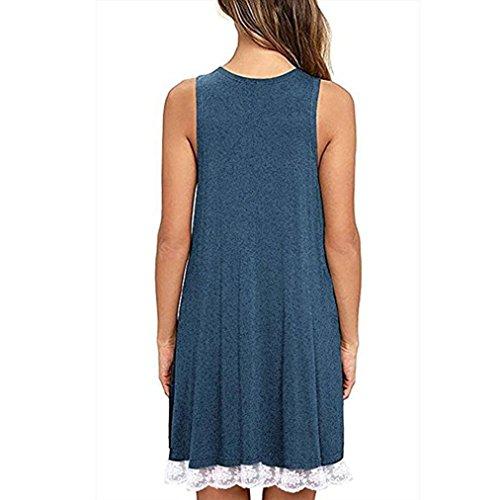 Lace Loose Swing T Trim Women's Sleeveless BSGSH Blue Shirt Dress Casual Simple Tank wBICqz