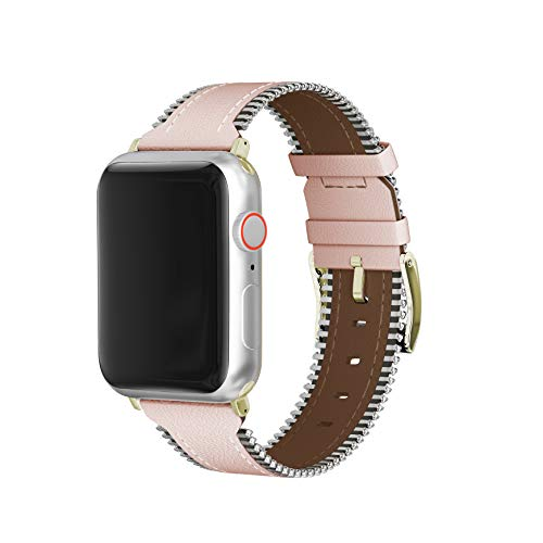 (Leather Band Compatible with Apple Watch 38mm 40mm 42mm 44mm S/M M/L, Premium Leather Zipper Edge Replacement Wrist Strap Bracelet for iWatch Series 4 3 2 1 (Pink Leather Zipper, 42MM/44MM))