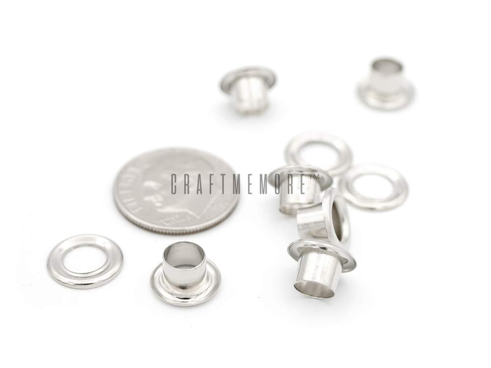 CRAFTMEmore 3//16 Canvas Hole Size 300 Sets Metal Grommets Eyelets with Washers for Bead Cores 5MM Leather 300 Sets, Silver Clothes