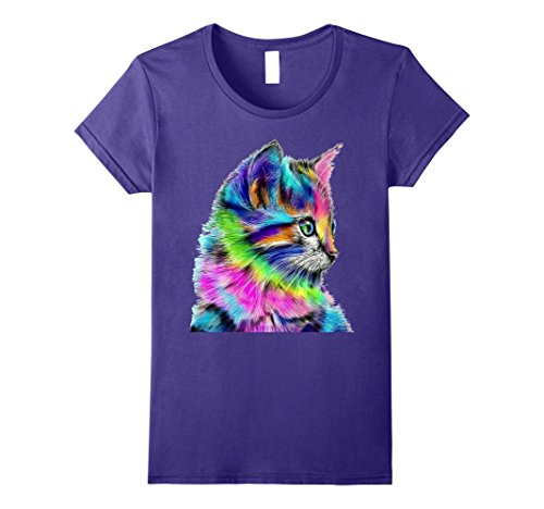 Nice Colour (Womens Nice Rainbow Colors Cat T-Shirt XL Purple)