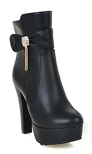 Easemax Womens Elegant Rhinestone Chians Solid RoundToe Zipper Chunky High Heel Platform Ankle Boots Black nnb3TpT