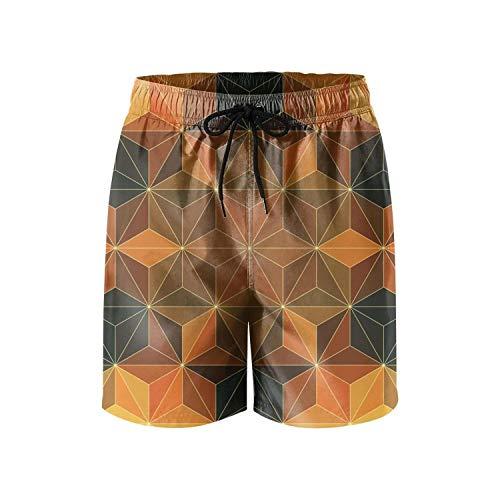 rtyil Dimetric Foursquare Men's Swim Trunks Running Swim Wear Cool Board Short ()