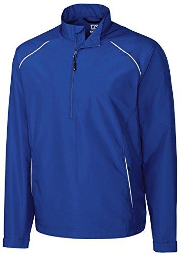 Weathertec Jacket (Cutter & Buck MCO00922 Mens Cb Weathertec Beacon Half Zip Jacket, Tour Blue-L)