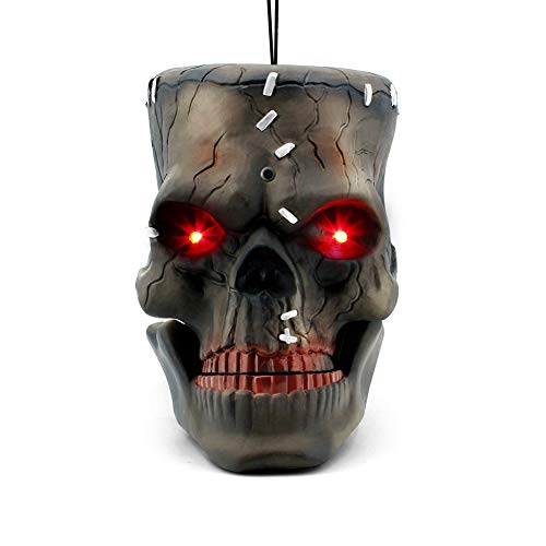 Big Mouth Halloween (LUKAT Halloween Hanging Decorations, Halloween Skull Head with Glowing Eyes & Creepy Sounds & Biting Mouth Portable for Halloween Indoor/Outdoor Carrying, Hanging and Decorations (Skull)