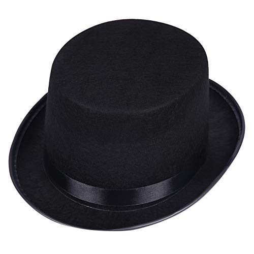 HDE Top Hat Adult Sized Black Felt Tall Hat with Satin Band Halloween Costume Party Accessory (Black, Large) by HDE
