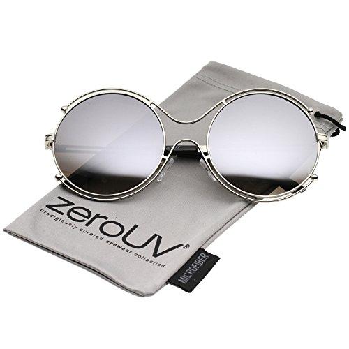zeroUV - Oversize Wire Rimmed Temple Cutout Colored Mirror Round Sunglasses 58mm (Silver / Silver - Sunglasses Cutout
