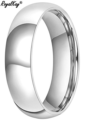 RoyalKay 2mm 4mm 6mm White Tungsten Wedding Band Ring Men Women Plain Dome High Polished Comfort Fit Size 3 To 17 (6mm,9) by RoyalKay (Image #2)