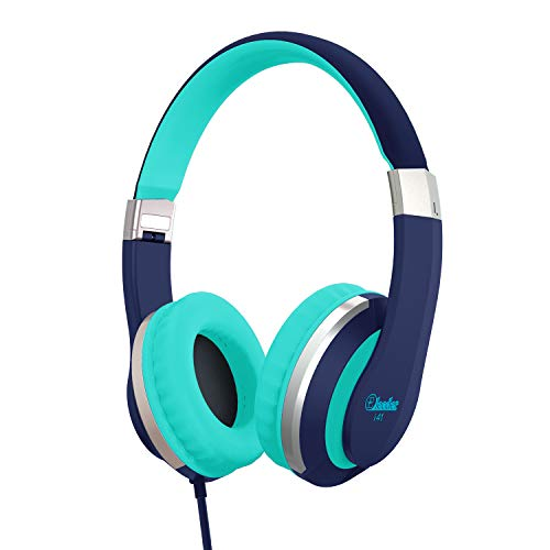 Kids Headphones Elecder i41 Headphones for Kids Childrem Girls Boys Teens Foldable Adjustable On Ear Headsets with 3.5mm Jack for iPad Cellphones Computer Kindle Airplane School Blue&Teal