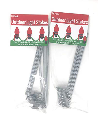 """Nickanny's Lawn Stakes for Christmas Yard Lights-Heavy Duty Galvanized Steel Wire 10"""" Long 20 per Pack-for Sidewalk or Driveway Decorating (C9 / Incandescent Style (Larger Base), -"""