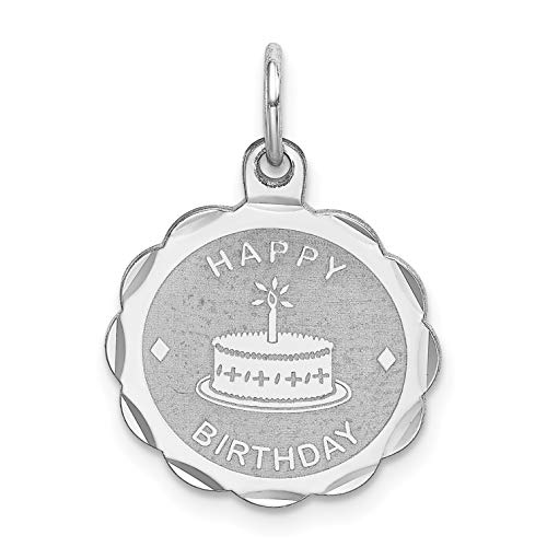 - Happy Birthday Words and Cake on Round Charm in 925 Sterling Silver 22x15mm
