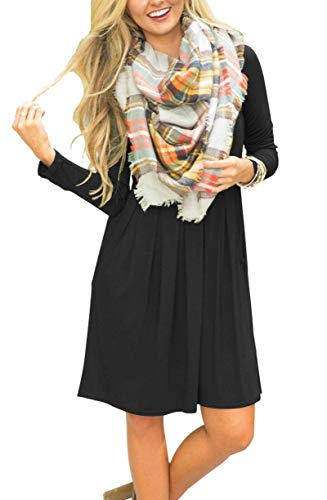 FERYSHE with Sleeve Dress Black Loose Casual Pockets Pleated Women's Swing Long rPwSFr