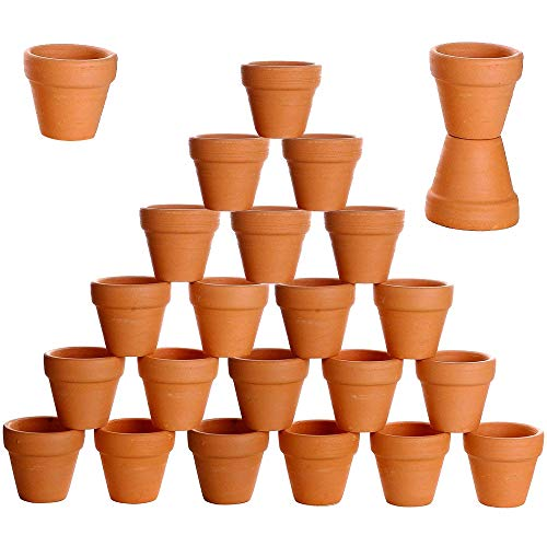 besttoyhome 24 Pcs Small Mini Clay Pots 2'' Terracotta Pots Clay Ceramic Pottery Planter Cactus Flower Pots Succulent Nursery Pots- Great for Indoor/Outdoor Plants,Crafts,Wedding Favor]()