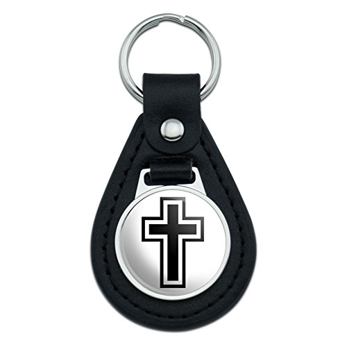 Graphics and More Cross Christian Religious Black Leather Keychain ()