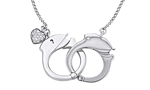 AFFY White Natural Diamond Accents Hand Cuff Pendant Necklace in 14k White Gold Over Sterling Silver