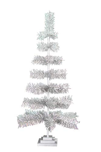 EST. LEE DISPLAY L D 1902 Silver Christmas Trees Vintage Retro Style Aluminum Silver Tinsel Branches Wood Base Stand Feather Style Tabletop Home Holiday Decor 3FT (D Christmas E Tree L)