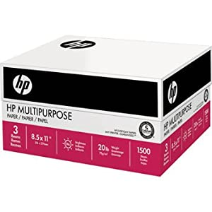 HP Multipurpose Ultra White, 20lb, 8.5 x11, 96 Bright, 1500Sheet/3 Ream Case (112530)