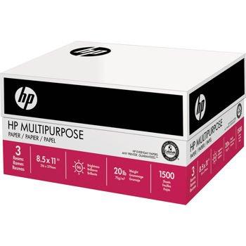 HP Multipurpose Ultra White, 20lb, 8.5 x11, 96 Bright, 1500Sheet/3 Ream Case (112530)