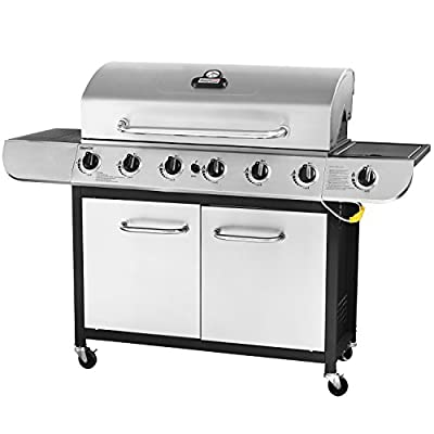 Royal Gourmet Classic 6-Burner Propane Grill with Sear Burner and Side Burner, Black / Stainless Steel