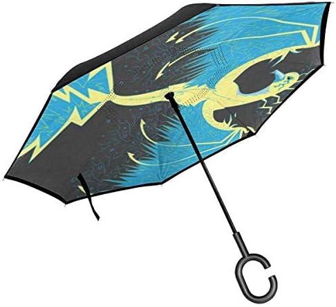 フェニックス ユニセックス二重層防水ストレート傘車逆折りたたみ傘C形ハンドル付き