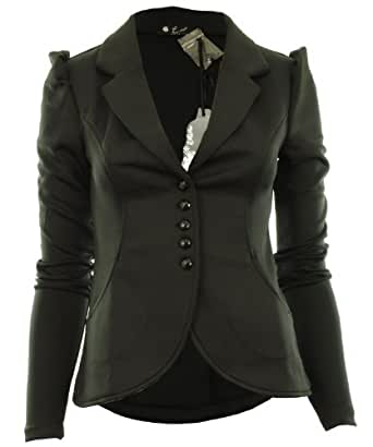 Ditzy Fashion Women's Crop Frill Shift Slim Fit Fitted Peplum Blazer Jacket Coat UK (Small / Medium, 5 Button Black)