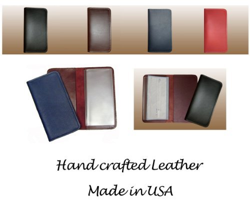 Black Leather Checkbook Cover Wallet for Duplicate Checks