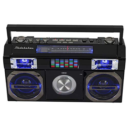 Studebaker SB2145B 80's Retro Street Bluetooth Boombox with FM Radio, CD Player, LED EQ, 10 Watts RMS Power and AC/DC -