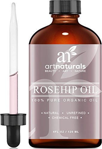 ArtNaturals Rosehip Oil - 100% Certified Organic - Pure Virgin, Cold Pressed & Unrefined 4oz - Best Natural moisturizer to heal Dry Skin, Fine Lines & Scars - Rose hip Seed Oil For Hair Face & Skin