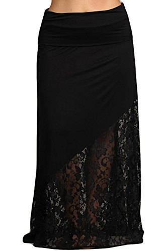 Womens Plus Size Black Mixed Material Lace Inset Maxi Skirt (XXL)