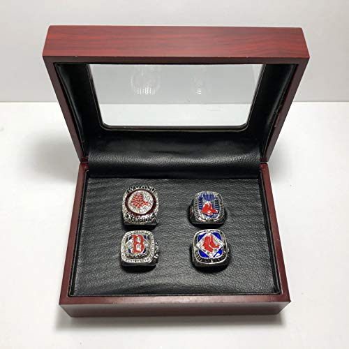 - Set of 4 Boston Red Sox World Series Championship Replica Ring W/Box-Various Sizes Silver Color Collectible USA SHIPPER