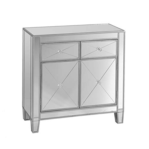 Mirage Mirrored Cabinet - Sliding Drawers w/ Faux Crystal Knobs - Glam Style ()