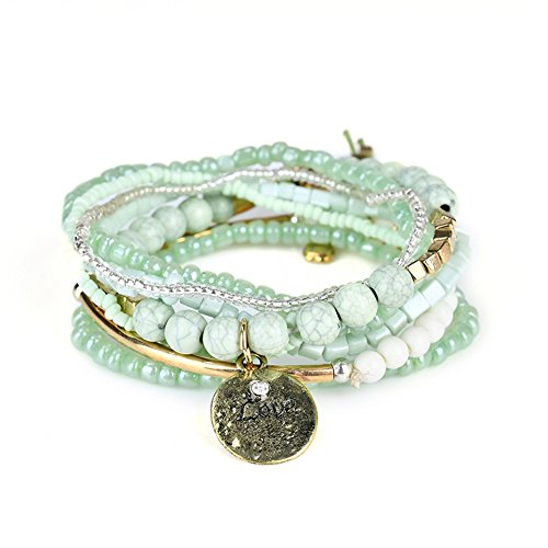 Multilayer Bohemian Green Beaded Bracelet Crystal Pendant Charm Stretch Beach Stack Bangle Bracelet Set 7 Colors for Women ()