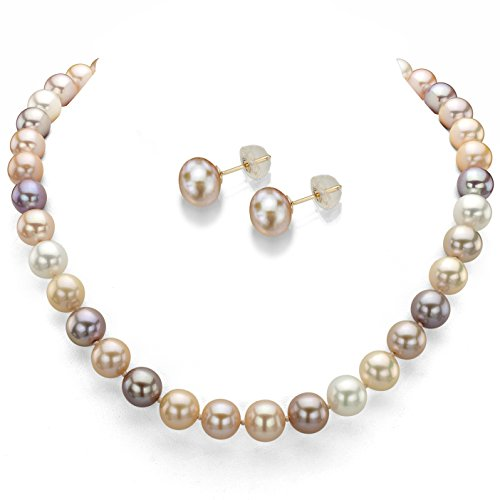 14k Yellow Gold 7-7.5mm Multi-pink Freshwater Cultured Pearl Necklace 18'' and Stud Earrings Set by La Regis Jewelry