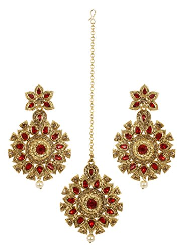 MUCH-MORE Indian Gold Plated Traditional Fabulous Multi Stone Earring with mang Tikka Jewelry for Women (4391 Red)