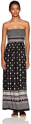 Angie Womens Black Smocked Strapless Maxi Dress